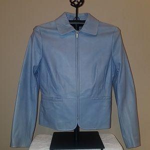 Ann Taylor TarHeel Blue Genuine Leather Jacket